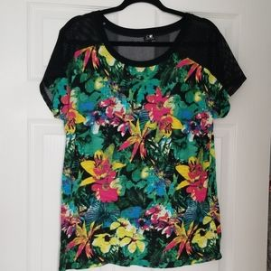 Cable and gauge mesh and tropical floral tee